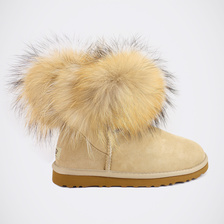 Угги UGG Mini Fox Fur Sand