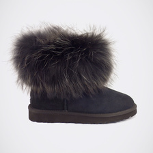 Угги UGG Mini Fox Fur Ultra Total Black