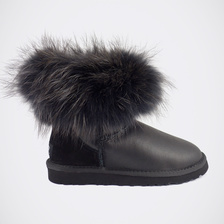 Угги UGG Mini Fox Fur Ultra Metallic Total Black